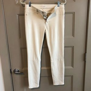 Cream 7 For All Mankind Suede-Look Skinny Pants 30